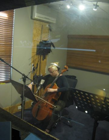 Amicus Strings Jacqui recording a television commercial